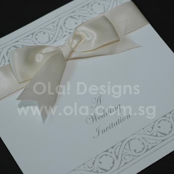 Silver Wedding Invitation with Ivory Bow