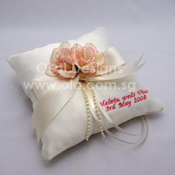 Buy Wedding Ring Pillow Singapore: Personalised Embroidery on Wedding Ring Pillow   Singapore,
